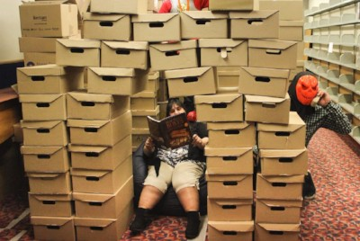 Catherine amongth the boxes of books