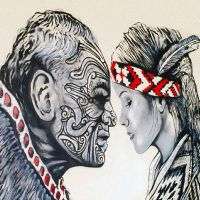 A Maori Chief and Young Maori Woman Hongi